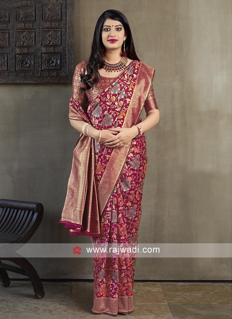 Attractive Rani Banarasi Silk Saree