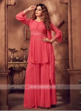 Attractive Gajari Pink Color Palazzo Suit