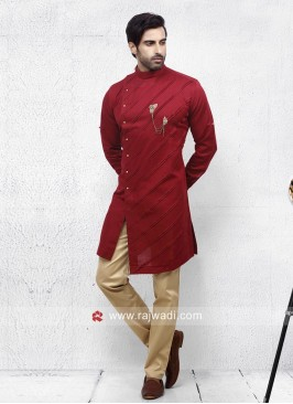 Attractive Red color Pathani Set