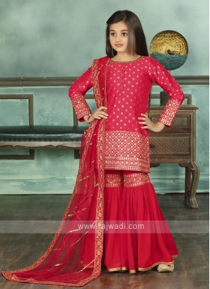 Attractive Red Color Sharara Suit