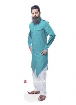 Attractive Deep Sky Blue Pathani Suit