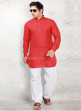 Attractive Red coloured Pathani Suit