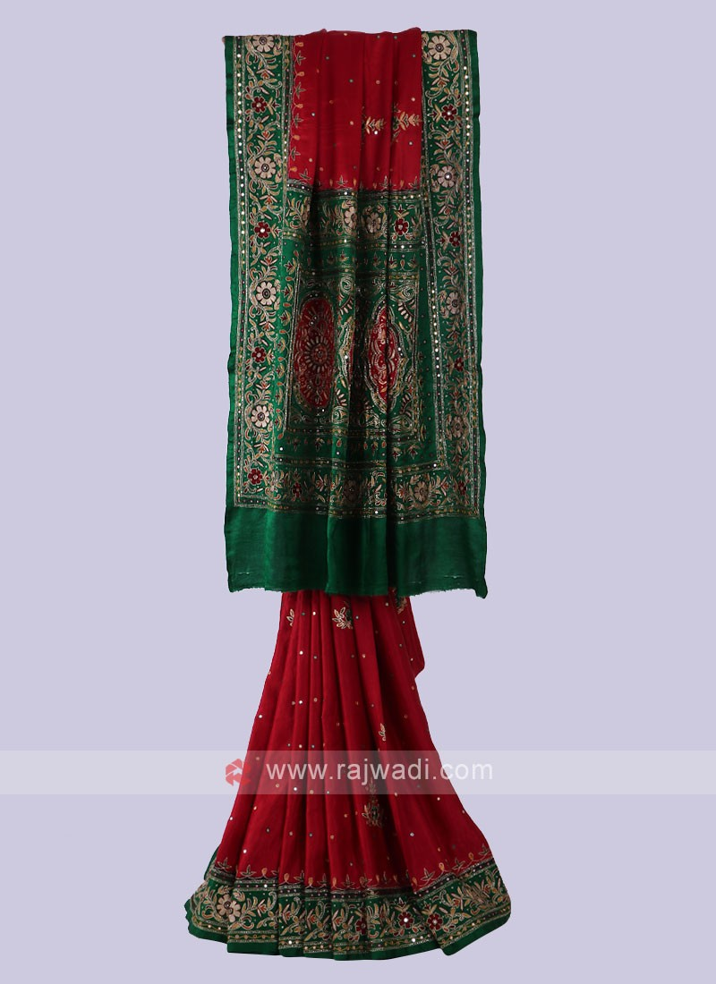 Attractive Red & Green Saree