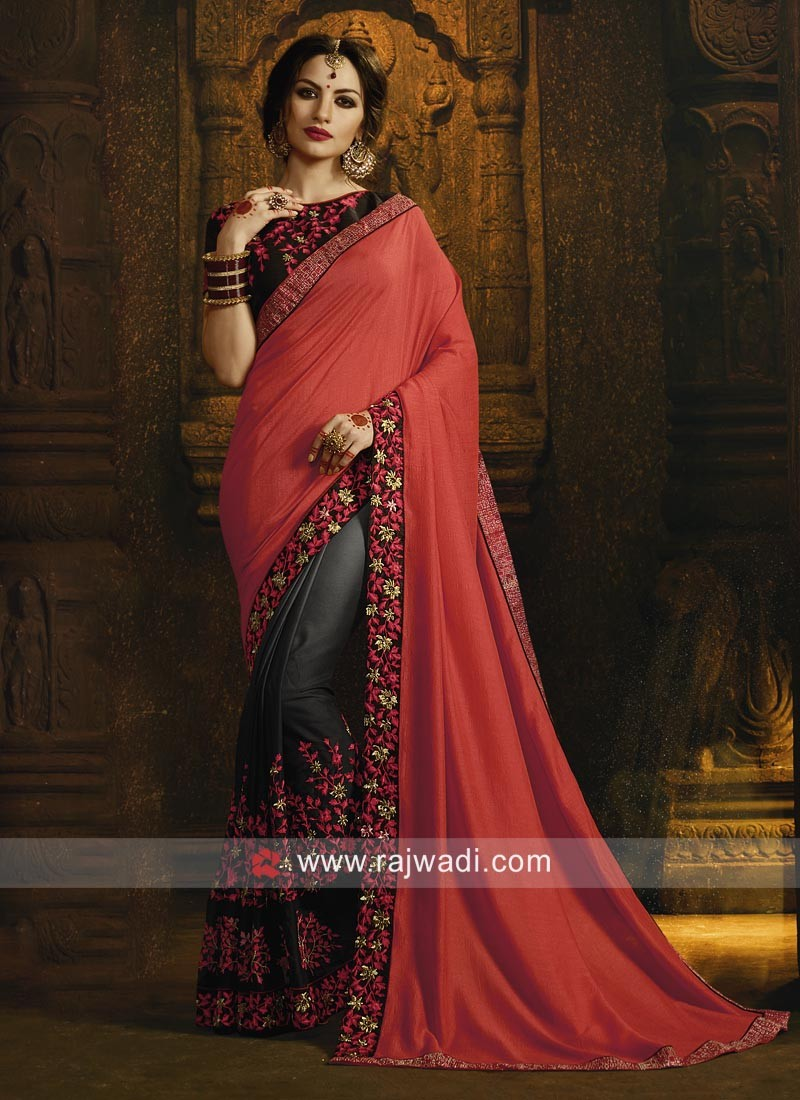 Attractive Saree with Black Blouse