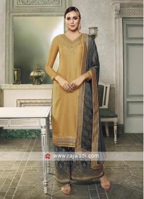 Grey and Golden color Salwar Kameez.