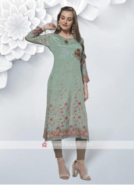 Attractive Sea Green Color Kurti