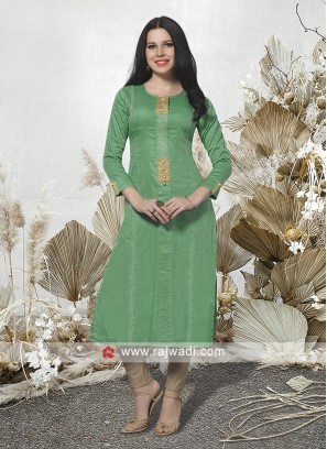Attractive Sea Green Kurti with Sleeves