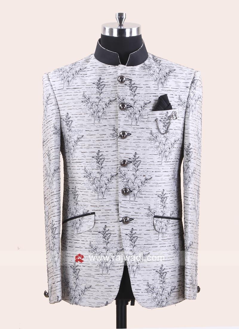 Attractive Silver Color Jodhpuri Suit