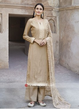 Attractive Skin Color Salwar Suit