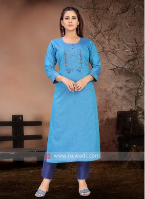 Attractive Sky Blue & Blue Kurta Set