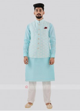 Attractive Sky Blue Color Nehru Jacket Suit