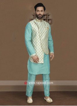 Attractive Sky Blue Nehru Jacket