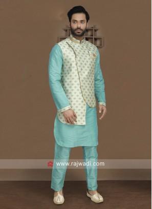 Attractive Sky Blue Nehru Jacket