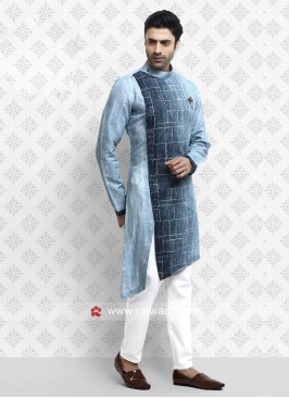 Attractive Sky Blue Pathani Suit