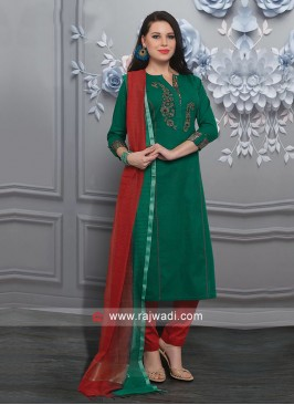 Attractive Green Color Trouser Suit
