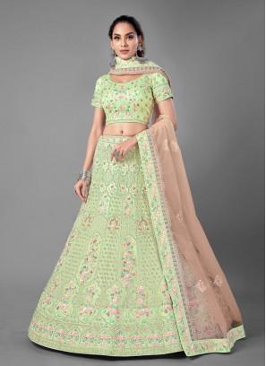 Attractive Thread Net Sea Green Lehenga Choli