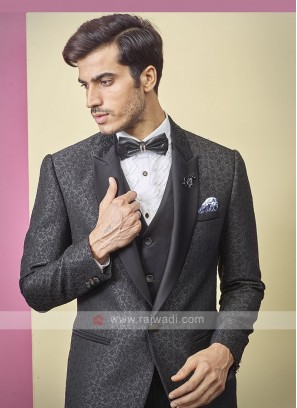 attractive thread work black color suit