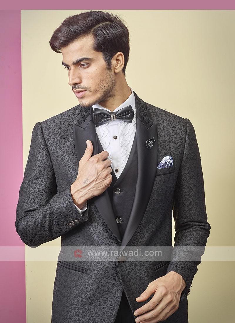 attractive thread work black color suit