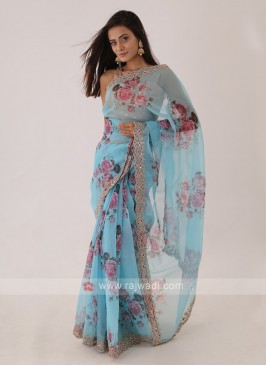 Attractive Turquoise Color Saree