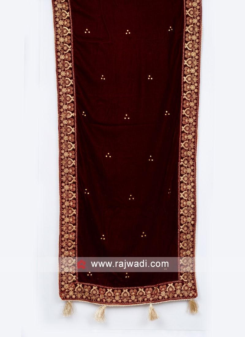 Attractive Velvet Dupatta For Wedding