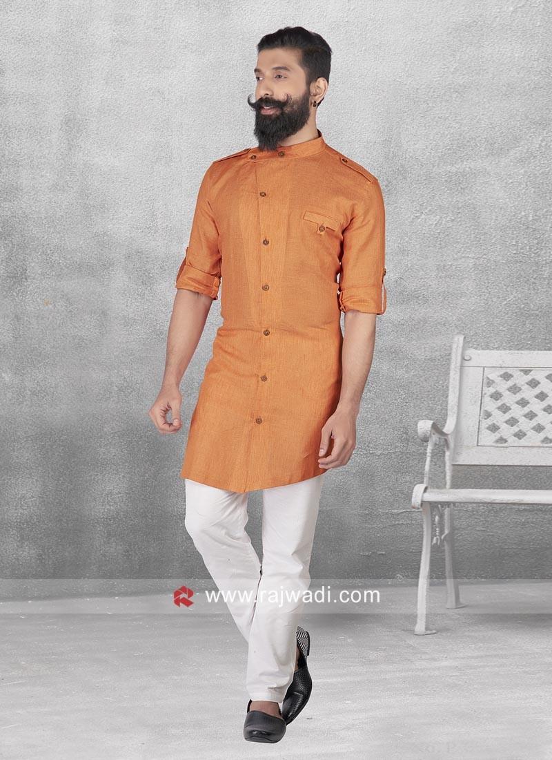Attractive Linen Fabric Pathani Set