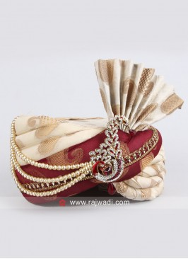 Attractive Cream and Maroon Safa