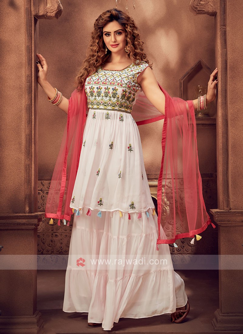 Attractive Light Pink Color Gharara Suit