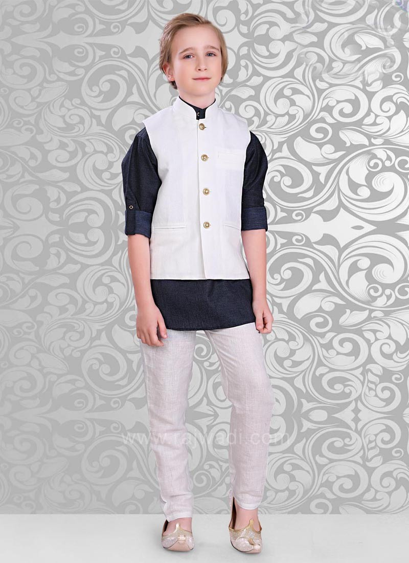 Attractive White Color Koti with Kurta Set