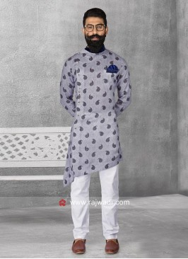 Attractive Light Steel Blue Color Pathani Set