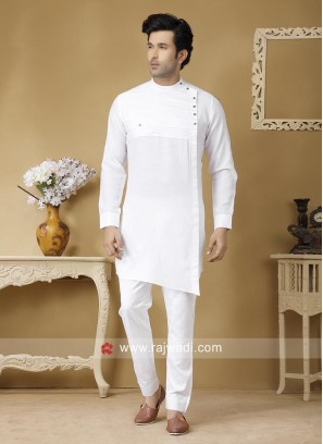 Attractive White Color Pathani Set