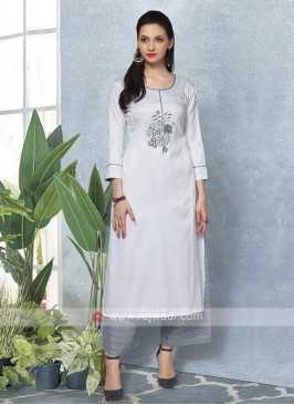 Attractive White & Grey Kurta Set