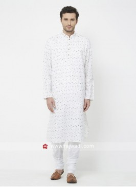 Attractive White Kurta Set For Eid