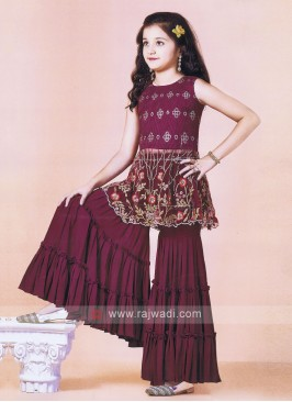 Attractive Wine Color Gharara Suit