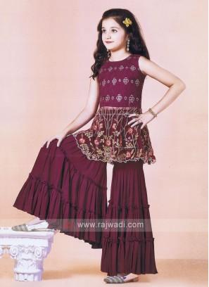 Attractive Wine Color Gharara Suit