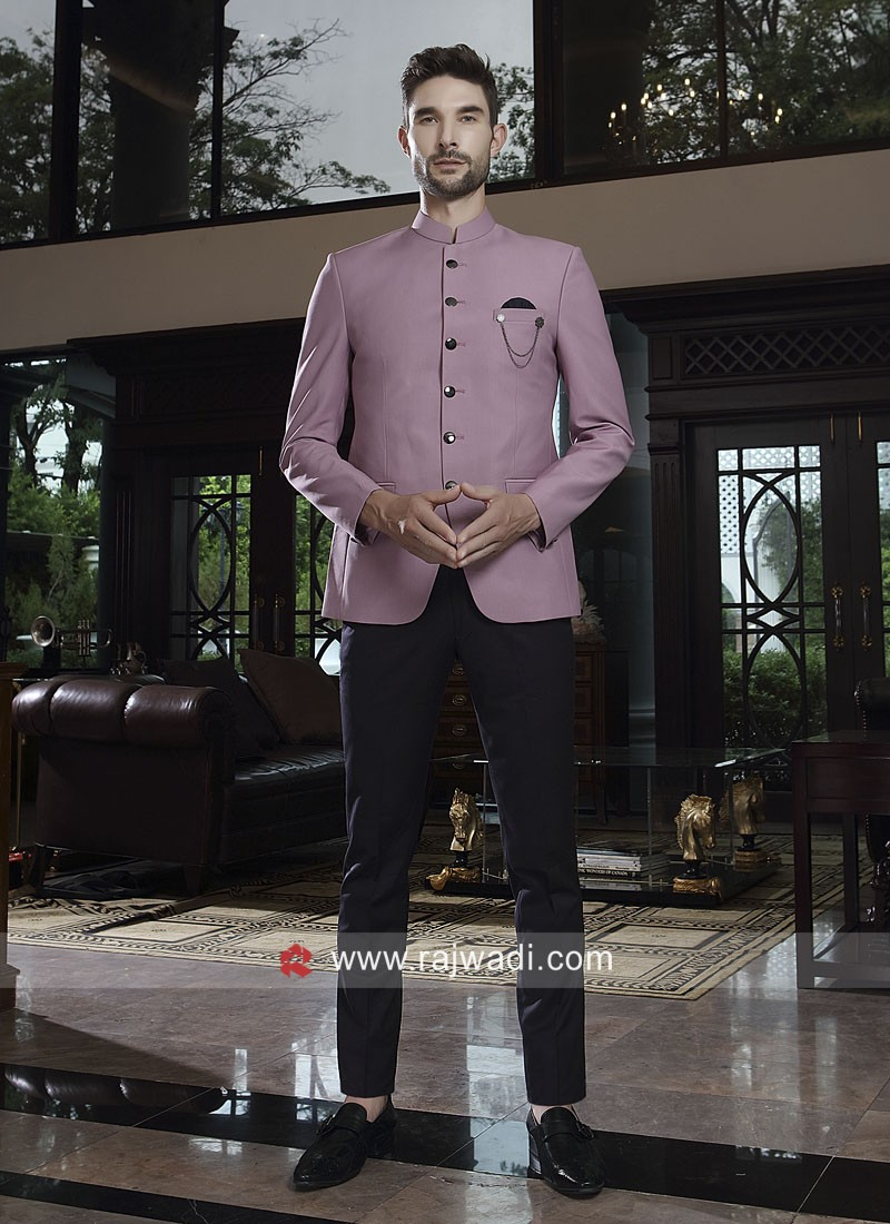 Attractive Pink Color Jodhpuri Suit