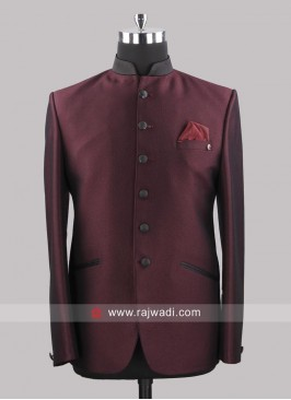 Attractive Wine Color Jodhpuri Suit