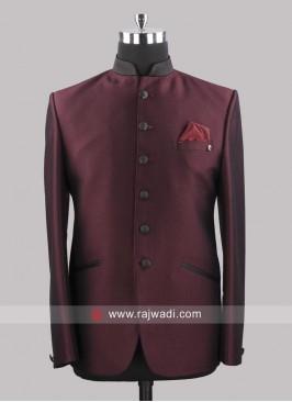 Attractive Wine Color Jodhpuri Suit