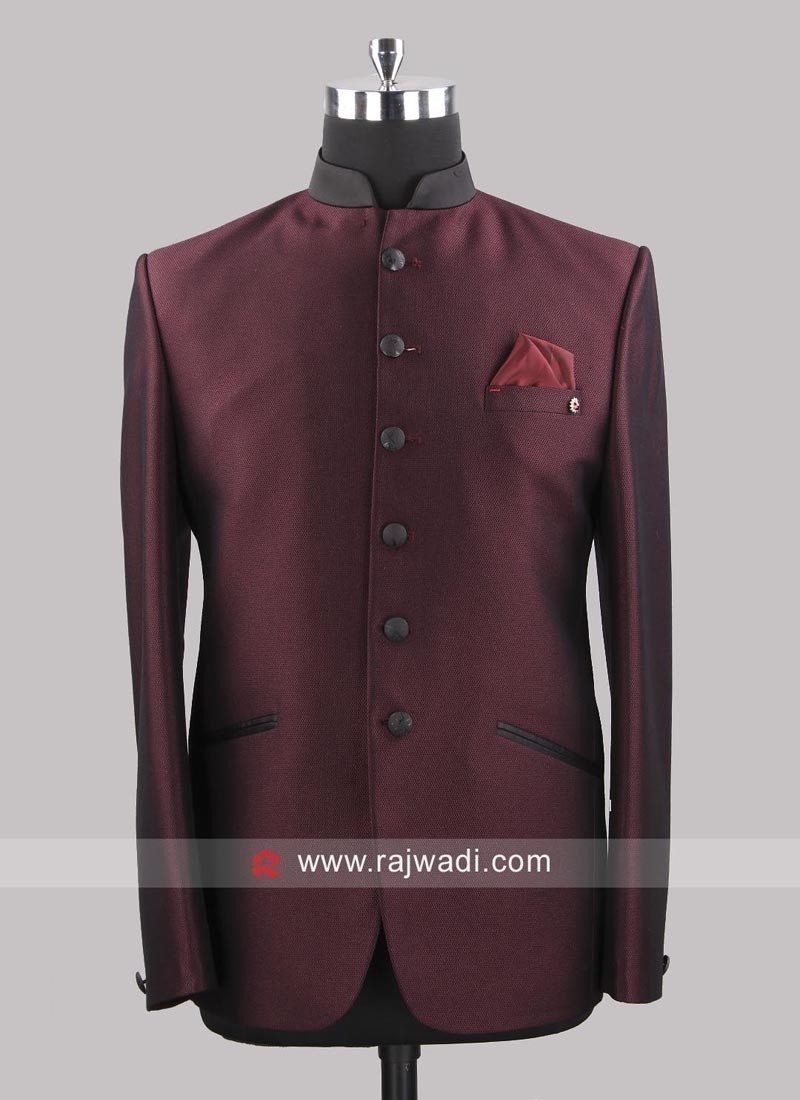 7f3a94b739 Attractive Wine Color Jodhpuri Suit. Hover to zoom