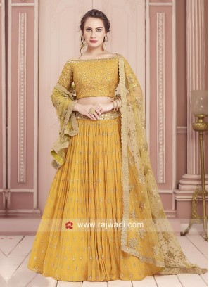 Attractive Yellow Georgette Choli Suit