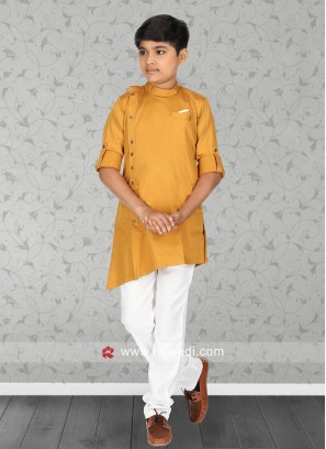 Attractive Mustard Yellow Pathani Suit