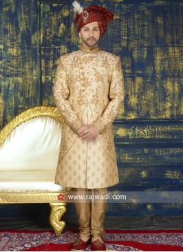 Attractive Zari and Stone Work Sherwani