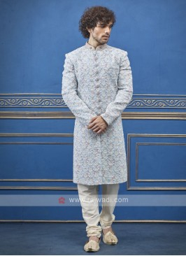 attrative sky blue silk sherwani