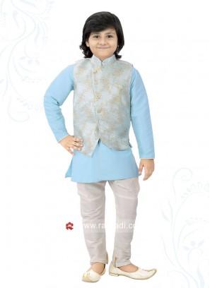 Attrective Art Silk Nehru Jacket For Boys