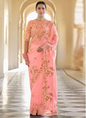 Auspicious Organza Peach Sequins Classic Designer Saree