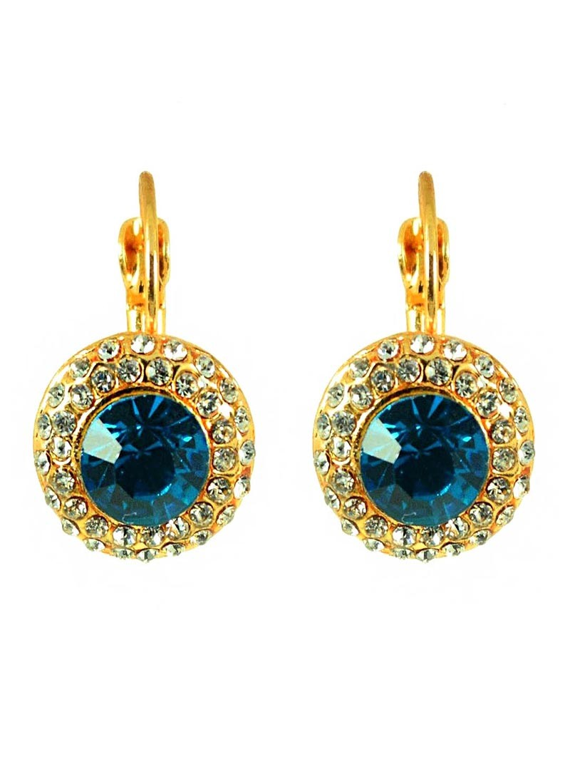 Austrian Crystal Blue and Golden Stud Earrings