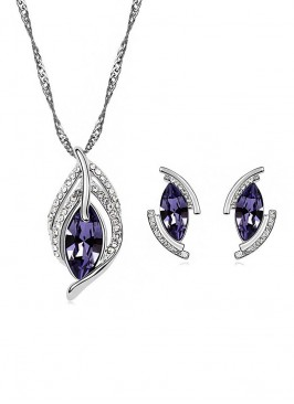 Austrian Crystal Leaf Pendant Set