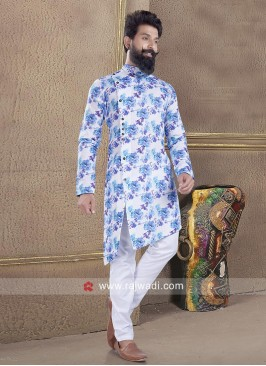 Awesome Blue and White Pathani Suit