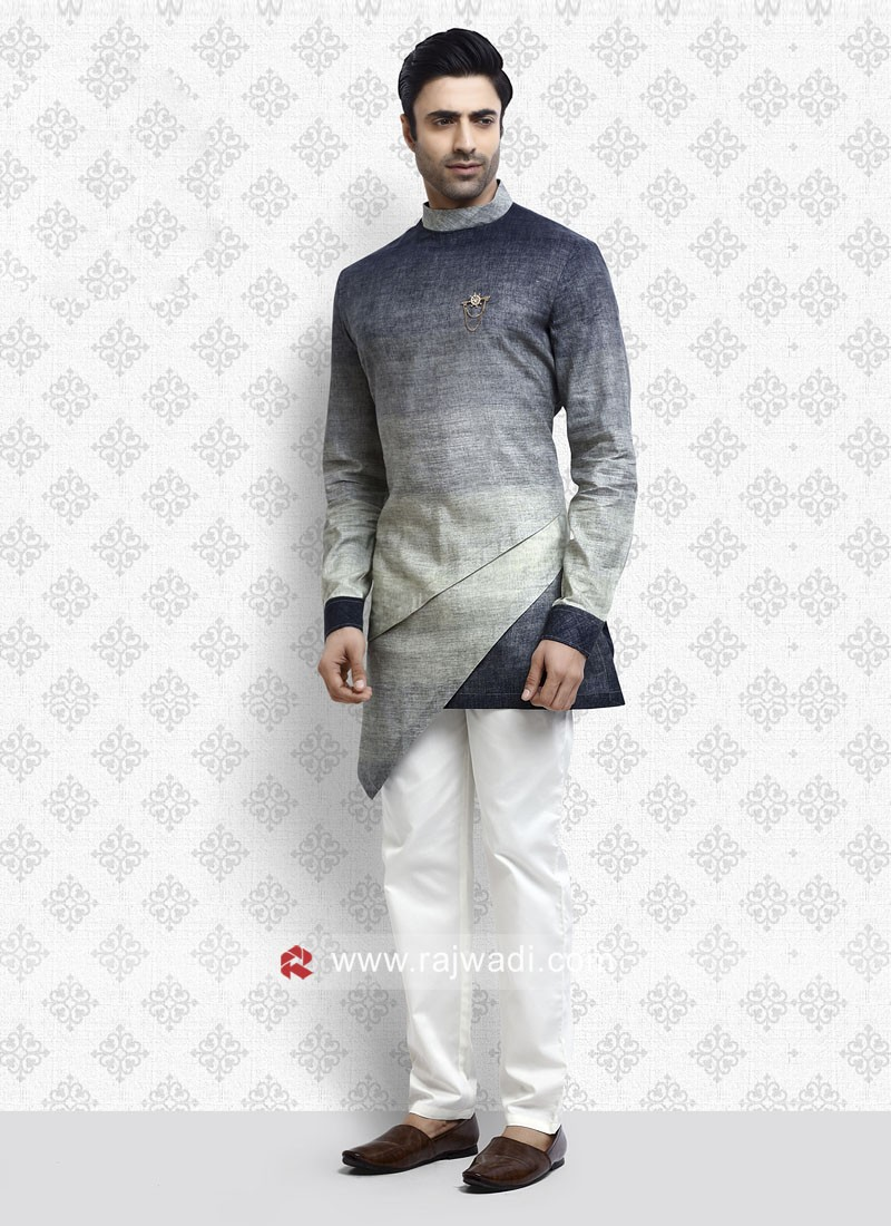 Awesome Blue and Green Shaded Pathani Suit