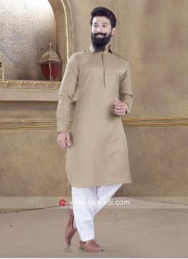 Awesome Satin Silk fabric Khaki Pathani Suit