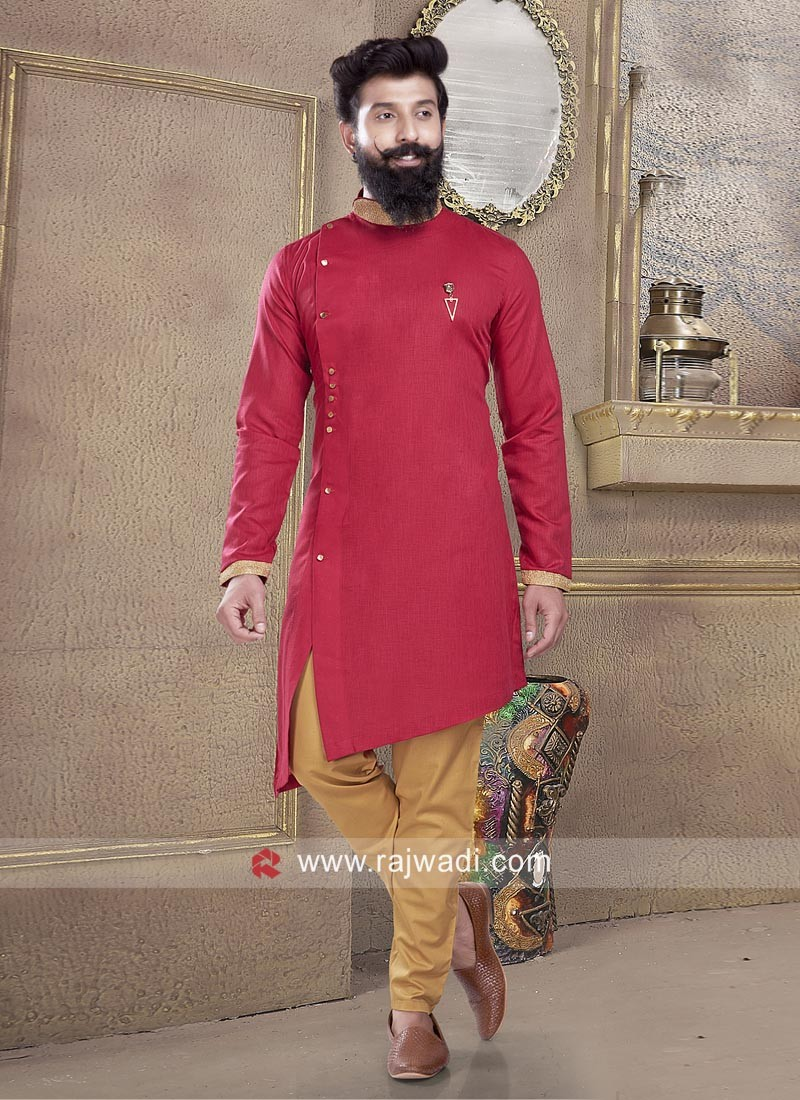 Awesome Cotton Silk fabric Red Pathani Suit